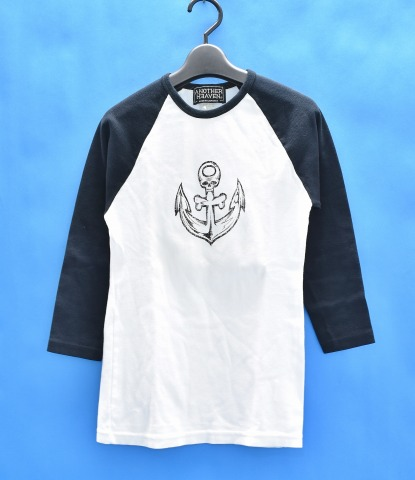 Another Heaven  E3 82 A2 E3 83 8a E3 82 B6 E3 83 Bc E3 83 98 E3 83 96 E3 83 B3 Scull Anchor Raglan Sleeves T Shirt M White Black White Black Skull Anchor Raglan Tee 3 4 Sleeve Logo T Shirts Sev
