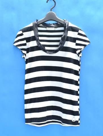 【中古】【レディース】 MONCLER (モンクレール) フリル付き半袖ボーダーカットソー S WHITE×BLACK BORDER S/S TEE T-SHIRT Tシャツ