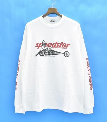 【中古】 HYSTERIC GLAMOUR (ヒステリックグラマー) SPEEDSTER pt リブ付T-SH 18SS L WHITE ホワイト 02181CL04 L/S CREW NECK TEE クルーネック ロンT LONG SLEEVES RIB T-SHIRTS ロングスリーブTシャツ LOGO PRINT ロゴ スピードスター プリント