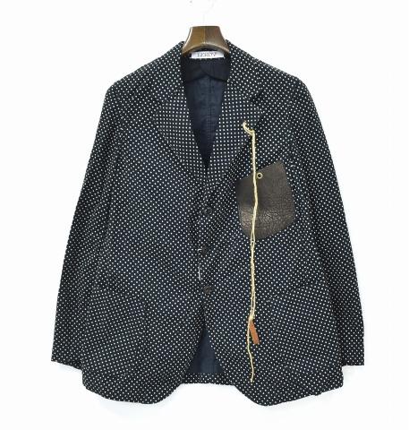 【新品】 LEROY (リロイ) Tailored Jacket DOT テーラードジャケット ドット柄 BLACK 2 3B 3ボタン CORDUROY コーデュロイ