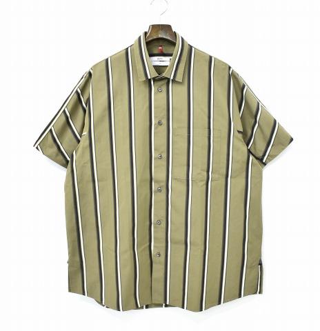 【中古】 OAMC (オーエーエムシー) Pulse Shirts Stripe ストライプパルスシャツ L OLIVE 18SS 半袖 ショートスリーブ MADE IN ITALY イタリア製 Over All Master Cloth