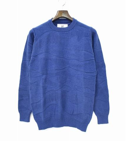 【新品】 HABANOS (ハバノス) CAMO CREW KNIT カモクルーニット XL INDIGO BLUE A17-KT01 CREW NECK クルーネック セーター カモフラージュ 迷彩 コットンニット HBNS
