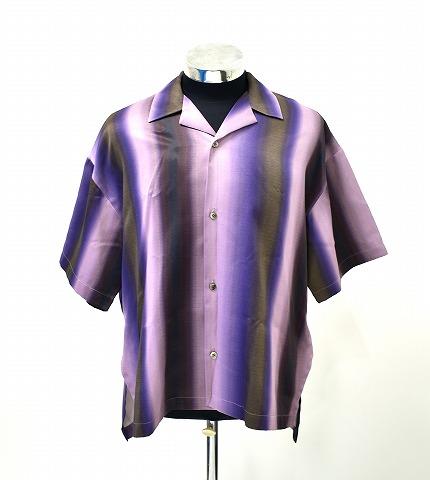 【新品同様】 KIIT (キート) Gradution Stripe S/S Slit Shirts グラデーションストライプ半袖スリットシャツ PINK × BLACK 2 レーヨンシャツ 開襟 アロハシャツ