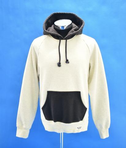 【中古】 WACKO MARIA (ワコマリア) TWO-TONE WASHED HEAVY WEIGHT PULLOVER HOODED SWEAT SHIRT (TYPE-1) ツートーンウォッシュドヘビーウエイトプルオーバーフーデッドスウェットシャツ M GREY-BLACK 18AW PARKA パーカー フーディー 2トーン MADE IN JAPAN 日本製