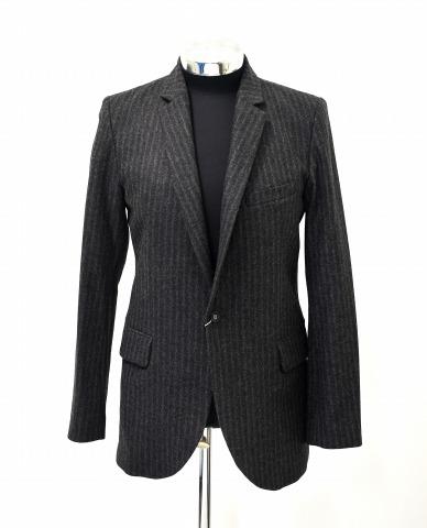 【新品】UTAKI (ウタキ) Notched Lapel tailored Jacket ノッチドラペル ストライプウールテーラード1Bジャケット C.GRAY L
