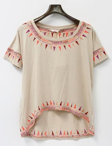 【新品】【レディース】 SASS&BIDE (サスアンドバイド) 刺繍ワイドTシャツ S IVORY
