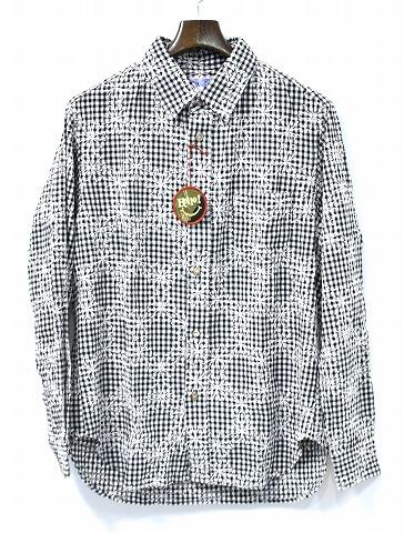 【新品】 SPLOTCH of ink (スプロッチインク)Embroidery Gingham Check Shirts 刺繍ギンガムチェック長袖シャツ BLACK