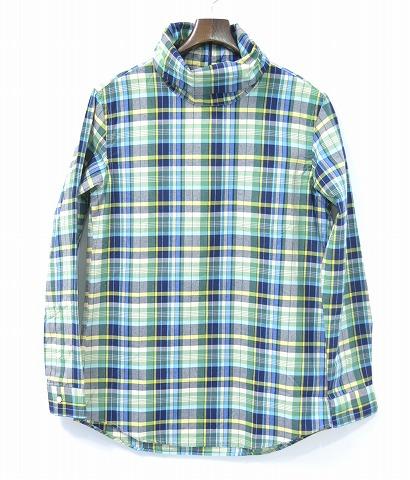 【新品】 Mr.GENTLEMAN (ミスタージェントルマン) MADRAS CHECK ROLLNECK L/S SHIRTS マドラスチェック ロールネック長袖シャツ GREEN CHECK L PULLOVER SHIRT プルオーバーシャツ