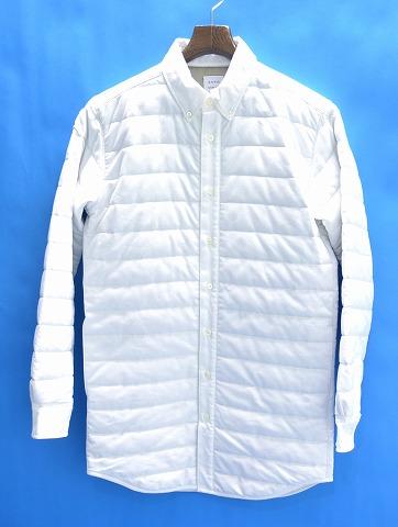 【新品】 Mr.GENTLEMAN (ミスタージェントルマン) QUILTED SHIRT キルテッドシャツ キルティングシャツ ロングシャツ 長袖ボタンダウンシャツ WHITE NO:MGJ‐SH12 L 中綿入り