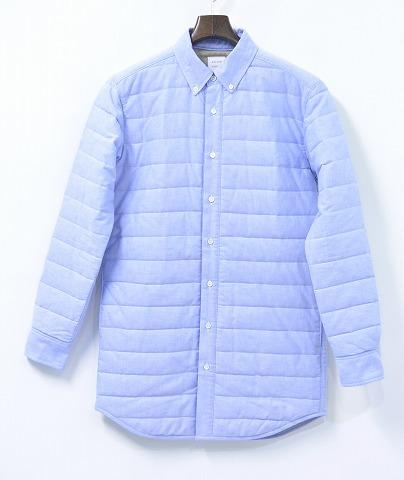 【新品】 Mr.GENTLEMAN (ミスタージェントルマン) QUILTED SHIRT キルテッドシャツ キルティングシャツ ロングシャツ 長袖ボタンダウンシャツ SAX BLUE NO:MGJ‐SH12 M 中綿入り
