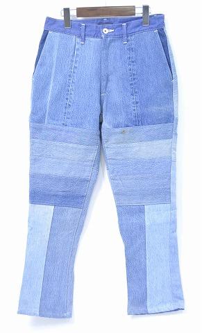 【新品】HURRAY HURRAY (フレイフレイ) Remake Denim Trousers リメイクデニムトラウザーズ デニムパンツ 解体 再構築 ジーンズ パッチワーク INDIGO 0 H1565 composition
