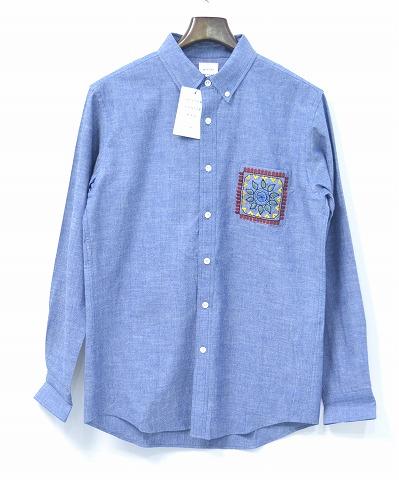【新品】 Mr.GENTLEMAN (ミスタージェントルマン) EMBROIDERED POCKET SHIRT エンブロイド ポケットシャツ CHAMBRAY シャンブレー長袖シャツ B.D.SHIRT ボタンダウンシャツ XL