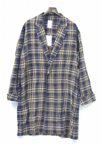 【新品】 Mr.GENTLEMAN (ミスタージェントルマン) CHECK GOWN SHIRT チェックガウンシャツ シャツコート 長袖シャツ ショップコート コンチョボタン フランネルチェックシャツ 長袖ネルシャツ YELLOW MGI-SH12 M MADE IN JAPAN