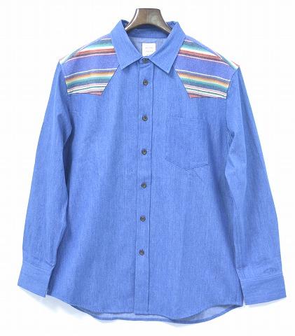 【新品】 Mr.GENTLEMAN (ミスタージェントルマン) MEXICAN BORDER WESTERN SHIRT メキシカンボーダーウエスタンシャツ 長袖シャツ MGI-SH10 NEW BLUE XL