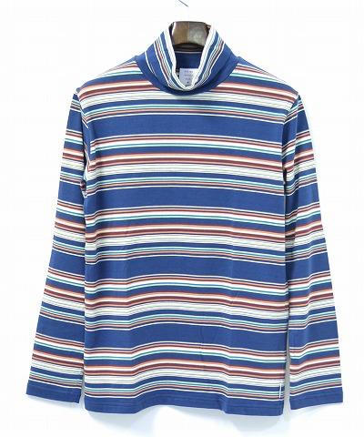 【新品】 Mr.GENTLEMAN (ミスタージェントルマン) MEXICAN BORDER TURTLENECK TEE メキシカンボーダータートルネックTシャツ T-SHIRT 長袖カットソー MGI-LCS06 BLUE XL  MADE IN JAPAN