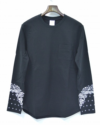 【新品】 Mr.GENTLEMAN (ミスタージェントルマン) BANDANA L/S TEE バンダナ長袖Tシャツ クロスドット ペイズリー ロンT-SHIRT カットソー BLACK MGI-LCS11 L ポケットTシャツ ポケTEE ポケットロンTEE MADE IN JAPAN