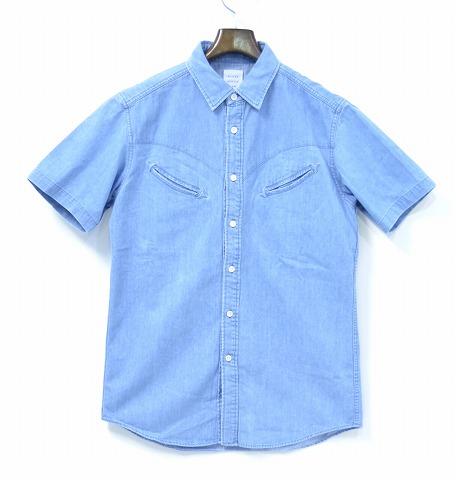 【新品】 Mr.GENTLEMAN (ミスタージェントルマン)WESTERN DENIM S/S SHIRT ウエスタンデニム半袖シャツICE BLUE L MADE IN JAPAN