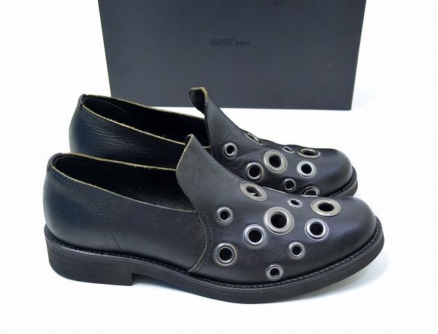 【新品】 ISAMU KATAYAMA BACKLASH (イサムカタヤマ バックラッシュ) ショルダーレザースリッポンシューズ SHOE BLACK 270-02 S 25.0 短靴 MADE IN JAPAN