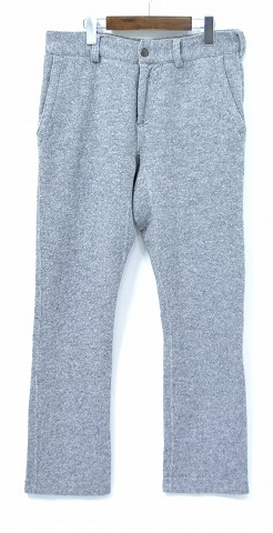 【中古】 BROWN by 2-tacs (ブラウン バイ ツータックス) Sweat flared スウェット フレアードパンツ 15AW Grey L グレー B12-U006 URAKE 裏毛 Wool ウール混 Cropped Pants クロップド