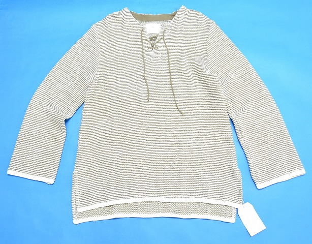 【新品】 bukht (ブフト) LACE UP MEXICAN KNIT レースアップメキシカンニット セーター B-M11305 OLIVE×WHITE 2 MADE IN JAPAN GREY×WHITE