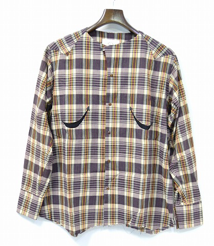 【新品】 bukht (ブフト) NO COLLAR WESTERN SHIRT CHECK ノーカラーウエスタンシャツ B-M81205 チェックオープンカラー BROWN 1