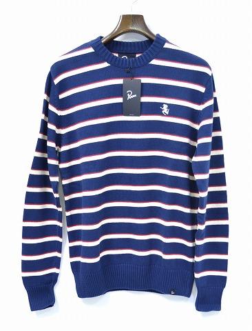【新品】by Parra (バイパラ) KNITTED PULLOVER STRIPES クルーネックプルオーバー ストライプニット セーター crew neck sweater NAVY BLUE L Rockwell By Parra