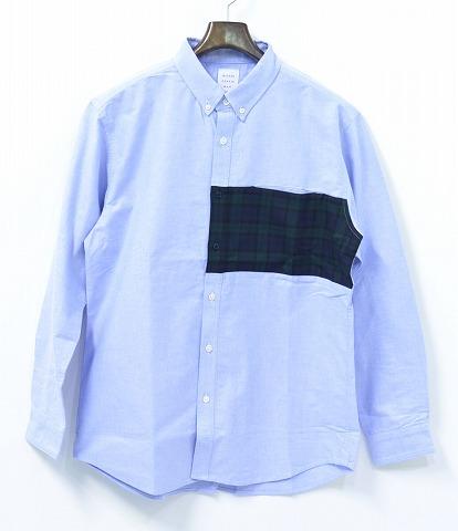 【新品】 Mr.GENTLEMAN (ミスタージェントルマン) MIX CHECK SHIRT ミックスチェックシャツ 長袖シャツ L/S B.D SHIRT ボタンダウンシャツ MGJ-SH16 SAX BLUE×BLACK WATCH MADE IN JAPAN S