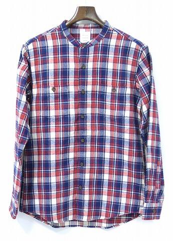 【新品】 Mr.GENTLEMAN (ミスタージェントルマン) STAND COLLAR SHIRT スタンドカラーシャツ FLANNEL CHECK SHIRTS フランネルチェックシャツ MGI-SH02 長袖シャツ  RED CHECK L MADE IN JAPAN ノーカラー