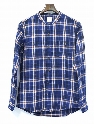 【新品】 Mr.GENTLEMAN (ミスタージェントルマン) STAND COLLAR SHIRT スタンドカラーシャツ FLANNEL CHECK SHIRTS フランネルチェックシャツ MGI-SH02 長袖シャツ  NAVY CHECK M MADE IN JAPAN ノーカラー
