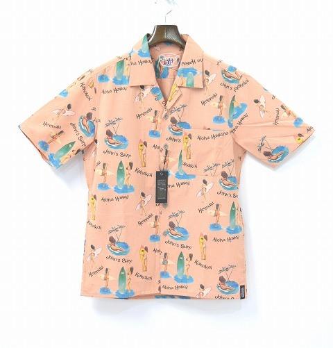 【新品】JOHN'S SURF (ジョンズサーフ) × BACKBONE (バックボーン) S/S PRINT SHIRT 半袖プリントシャツ 総柄シャツ オープンカラー アロハシャツ 総柄サーフシャツ CORAL PINK L