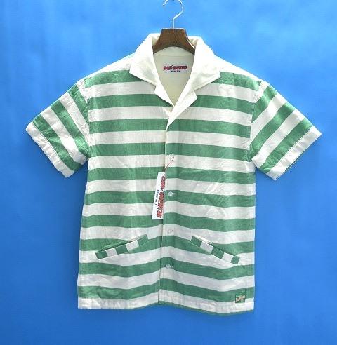 【新品】 BAD QUENTIN (バッドクエンティン) BEACH SHIRTS ビーチシャツ 半袖オープンカラーシャツ GREEN×WHITE M