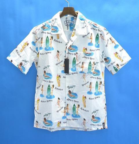 【新品】JOHN'S SURF (ジョンズサーフ) × BACKBONE (バックボーン) S/S PRINT SHIRT 半袖プリントシャツ 総柄シャツ オープンカラー アロハシャツ 総柄サーフシャツ WHITE L