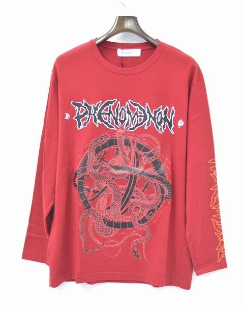 【新品】 PHENOMENON (フェノメノン) CRUSTY PRINT LONG T-SHIRT クリスティプリント長袖Tシャツ ロンTEE L/S T-SHIRT 15AW RED L