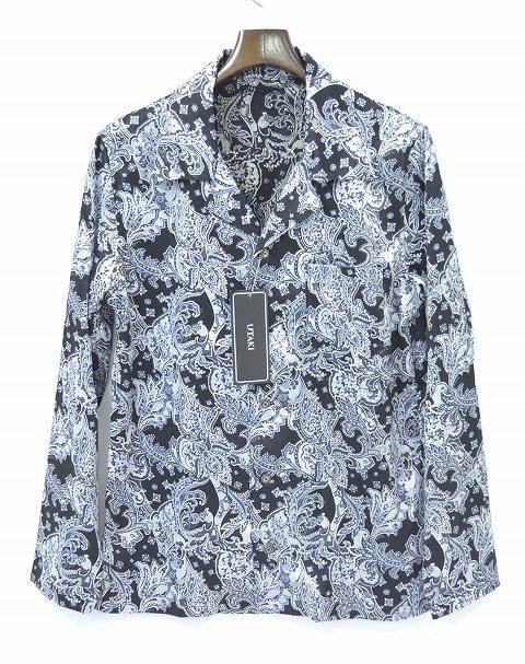 【新品】 UTAKI (ウタキ) Paisley Open Collar Shirt ペイズリーオープンカラーシャツ 開襟長袖シャツ BLACK L