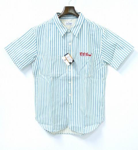 【新品】 O.C CREW (オーシークルー) OC STRIPE S/S SHIRTS (BLUE) ストライプ半袖シャツ ロンドンストライプ L