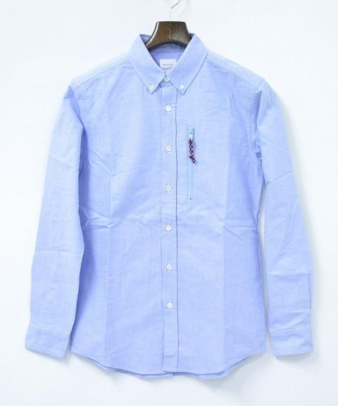 【新品】 Mr.GENTLEMAN (ミスタージェントルマン) ROPE OX SHIRTS ロープオックスシャツ 長袖ボタンダウンシャツ SAX BLUE S