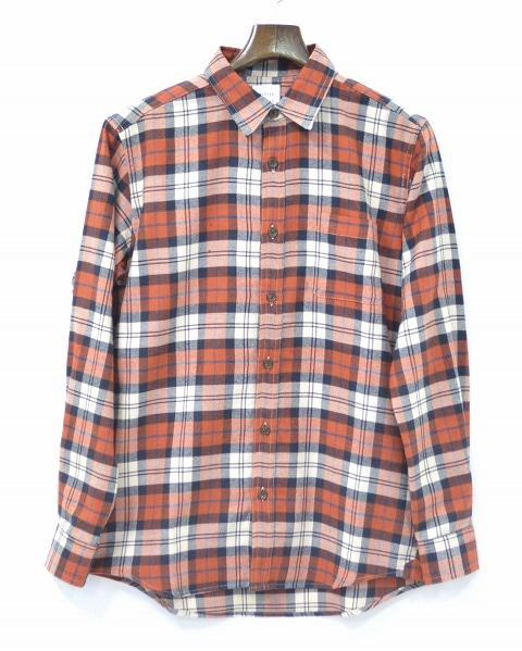 【新品】 Mr.GENTLEMAN (ミスタージェントルマン) FLANNEL CHECK SHIRTS フランネルチェックシャツ MG15F-SH01 長袖シャツ ベーシック ORANGE M