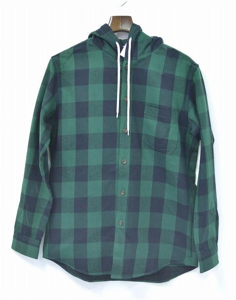 【新品】 Mr.GENTLEMAN (ミスタージェントルマン) HOODED SHIRT フーデッドシャツ 長袖シャツ ネルシャツ フードつき GREEN CHECK ブロックチェック M