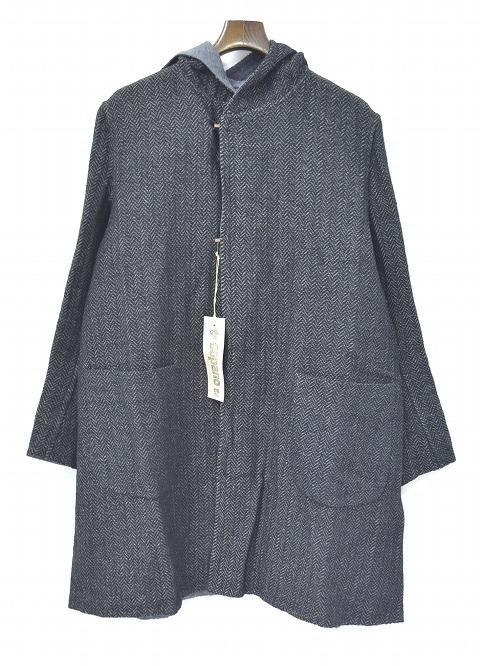 【新品】 COPANO86 (コパノ ハチジュウロク) Herringbone Stripe Hooded Coat ヘリンボーンストライプフーデッドコート BLACK 44  マント ガウン フーディー フード モンクコート