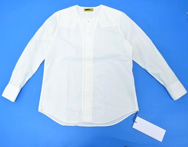 【新品】HURRAY HURRAY (フレイフレイ)Collarless Chambray Western Shirts カラーレスシャンブレーウエスタンシャツ WHITE 長袖シャツ Collar omit Western 1