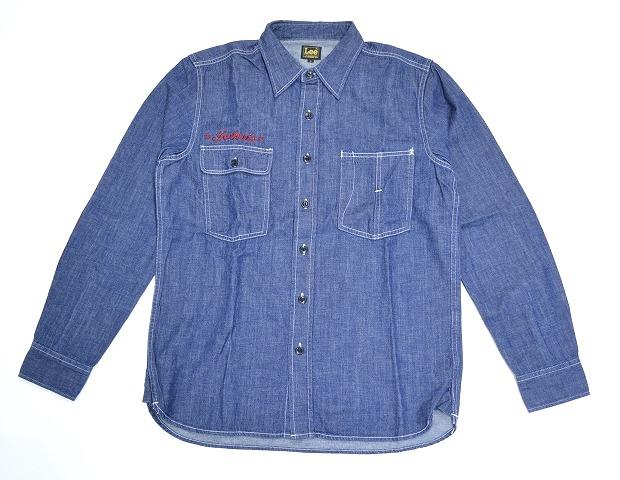 【新品】LEE × JOHN'S (リー)×(ジョンズ) DENIM WORK SHIRT L/S John's RED ENB 刺繍ロゴ長袖デニムワークシャツ INDOGO L ジョンズクロージング