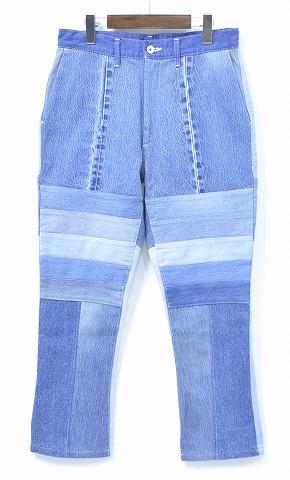 【新品】HURRAY HURRAY (フレイフレイ) Remake Denim Trousers リメイクデニムトラウザーズ デニムパンツ 解体 再構築 ジーンズ パッチワーク INDIGO 1 H1565 composition
