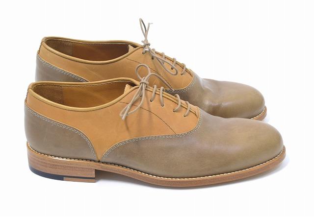 【新品同様】PADRONE (パドローネ)COMBINATION BALMORAL SHOES バルモラルコンビシューズ レザーシューズ 革靴 サドル MADE IN JAPAN CAMEL/OLIVE BROWN 41 限定 オックスフォード