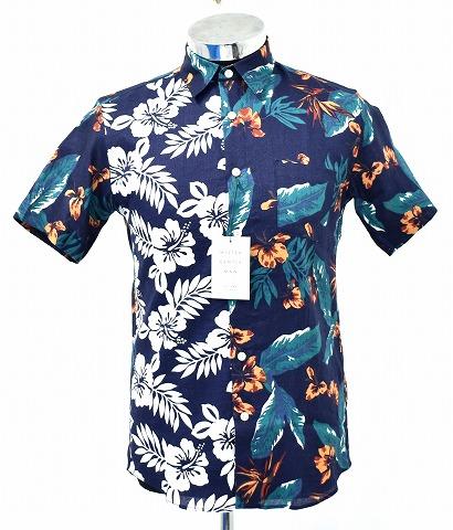 【新品】 MISTERGENTLEMAN (ミスタージェントルマン)HAWAIIAN FLOWER MIX SHIRT ハワイアンフラワーミックスシャツ 半袖シャツ MGK-SSH12 リネンシャツ NAVY S MADE IN JAPAN Mr.GENTLEMAN アロハシャツ