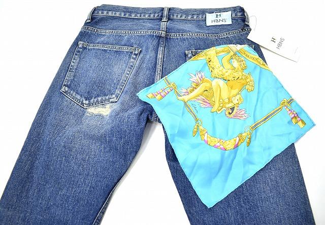 【新品】HABANOS (ハバノス)USED SCARF REPARE DENIM PANTS スカーフつきユーズド リペア加工デニムパンツ セルビッチ 赤耳 M INDIGO MADE IN JAPAN HBNS JEANS ジーンズ