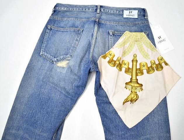 【新品】HABANOS (ハバノス)USED SCARF REPARE DENIM PANTS スカーフつきユーズド リペア加工デニムパンツ セルビッチ 赤耳 L INDIGO MADE IN JAPAN HBNS JEANS ジーンズ