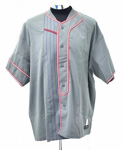 【新品】 FACETASM (ファセッタズム) Woolmark (ウールマーク) Striped MIX Baseball Shirt  GRAY ストライプ ミックスベースボールシャツ 半袖 4