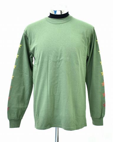 """【新品】 OVERDESIGN (オーバーデザイン)DOUBLE L/S """"SUNSET STAR""""ダブル長袖Tシャツ ロンTEE カットソー ロングT-SHIRT LIGHT OLIVE M MADE IN JAPAN"""