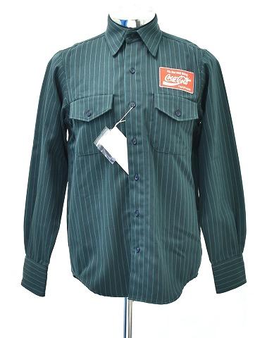 【新品】 FACETASM (ファセッタズム) Coca-Cola STRIPE SHIRT コカコーラ ストライプシャツ 長袖シャツ ワークシャツ ストライプ STRIPE WORK SHIRT GREEN 3 コラボ 別注
