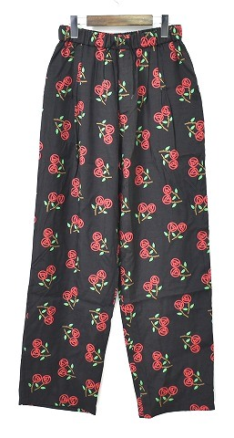 【新品】 DISCOVERED (ディスカバード)Rose print pants DC-DC-PF19-PT-01 ローズプリントパンツ BLACK バラ イージーパンツ 2